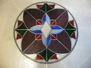 Tiffany Style Vintage Handcrafted Stained Glass Window Panel 56 Round
