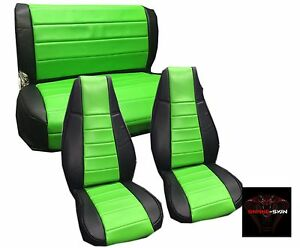 Jeep Wrangler Yj Green Custom Seat Covers Front Rear Syn Leather Perfect Fit