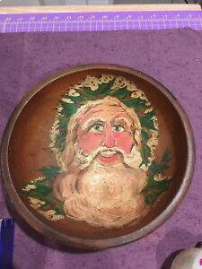 Large Antique Hand Painted Wooden Bowl With Santa Claus On It