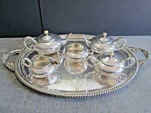 Antique American Southern Sterling Silver Tea Coffee Set Tray