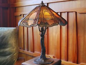 Handel Des Tree With Crocked Tree Branch Table Lamp Mission Arts And Craft