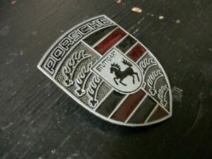 Porsche 911 944 951 Refinished Hood Crest Emblem Pewter Red Black