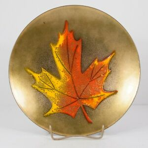 Vtg Mid Century Signed Jules Perrier Copper Enamel Dish 7 5 Maple Leaf Canada