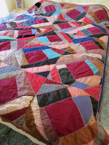 Antique Handmade Pieced 1900 S Crazy Quilt 65 X 77 Embroidered Cutters Craft