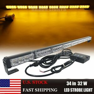 34 32led Emergency Flash Strobe Light Bar Vehicles Hazard Traffic Advisor Amber