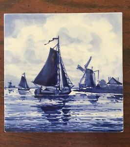 Antique Dutch Delft Blue Tile Windmills Boats Seaside Scenes Signed Vintage