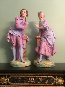 Vion Baury Porcelain Rare Bisque Statue Mark French Pair Figures 28 5 Large Old