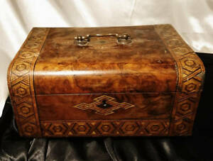 Victorian Sewing Box Walnut And Straw Work Inlaid Parquetry Box Large Antique