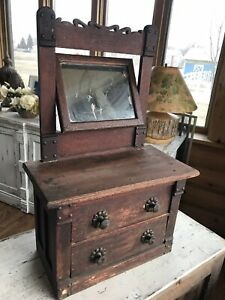 Antique Victorian Dressing Table Top Vanity Mirror 2 Drawers