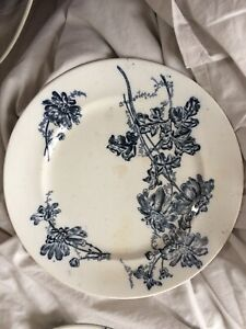2 Antique French Ironstone Transferware Patina Shabby Chic