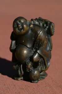 1930 S Japanese Bronze Netsuke Hotei Immortal Happy Buddha 99 Gram
