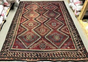Persian Rug 7x10 Vintage Persian Rug Karghai Hand Knotted Wool Pile Rug