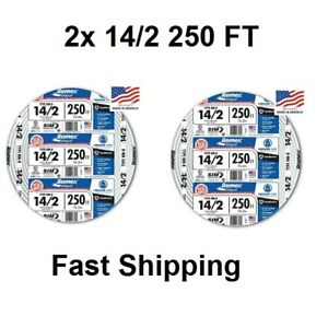 Romex 250ft Roll 14 2 Awg Guage Nm b Indoor Electrical Copper Wire Cable Wground