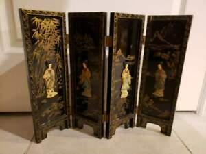 Vintage Antique Chinese Folding Jade Lacquer Mini Screen Panel 18 25 W 14 H