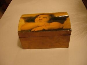 Small Chest Wood Box Gold Tone Cherub Design