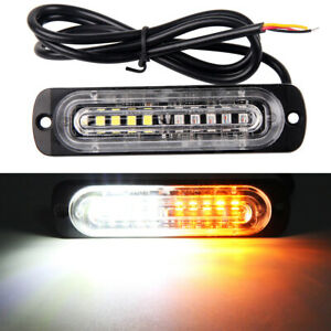 2 Pcs 10 Led Working Strobe Grill Emergency Warning Side Net Light Amber