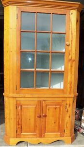 Antique 12 Pane Corner Cupboard Kitchen Cabinet Raised Panel Pine