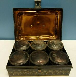 Early Vtg Antique Tole Painted Black Tin Spice Box With Lid 6 Spice Containers
