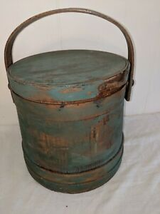 Antique Blue Green Painted 10 Firkin Early Primitive Lidded Wood Sugar Bucket