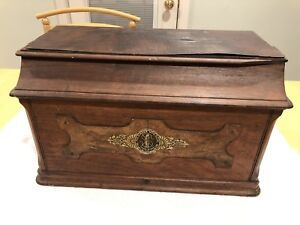 Antique Singer Sewing Machine Treadle Cabinet Cover Wood Coffin Top