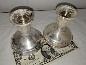 Vintage Pair Of Two Towle Sterling Silver Candlesticks 701