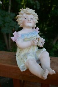 Antique German Conta Boehme Victorian Piano Baby Girl Doll Bisque Figurine