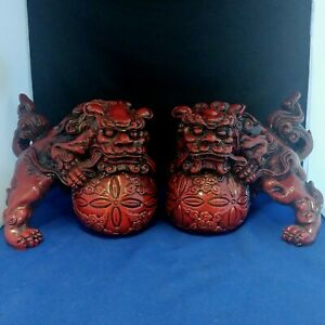 Vintage Chinese Cinnabar Pair Of Lucky Lion Foo Dog Statue Figurine 8 L 6 25 H