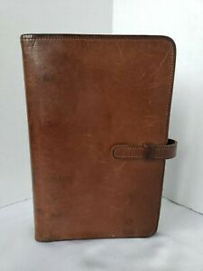 Vintage Coach Brown Leather Personal Planner Organizer 1 Rings Tab