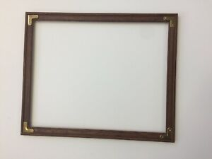 American Vintage Dark Wood Picture Frame 16 X 20 With Brass Corners