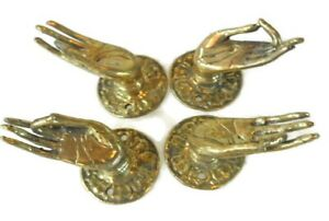 4 Polished Tiny Pull Handle Hands Buddha Brass Door Old Style Knob Hook 1 1 2 B