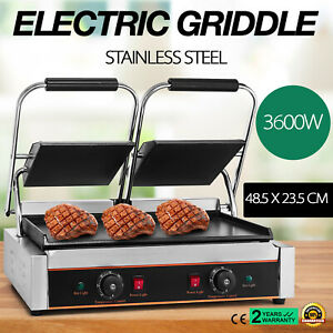 3600w Electric Twin Contact Grill Griddle Commercial Countertop Egg Fryer