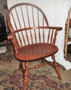 Mid Century Nichols Stone Windsor Oak Sack Back Bentwood Knuckle Arm Chair