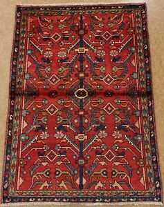 Persian Hamedan Tribal Hand Knotted Wool Red Blue Oriental Rug 3 7 X 5 1