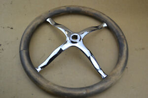 Model T Steering Wheel Wood Chrome Ford 14 1 2 Dia Vintage Hot Rod Fad T