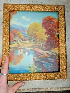 Gorgeous Antique Gesso Frame W Old Glass Victorian Ornate Gold Gilt Vtg 8 X 10