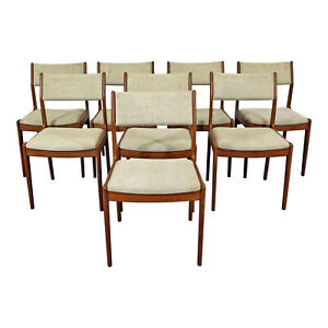 Set Of 8 Mid Century Danish Modern Teak Dining Side Chairs