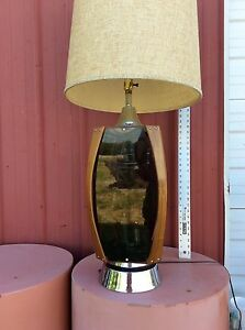 Mid Century Danish Modern Chrome Lucite Teakwood Eames Era 4ft Table Lamp Shade