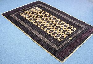 5 X8 Vintage Persian Area Rug Bukhara Hand Knotted 100 Wool Pile Rug