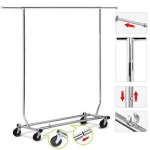 Adjustable Heavy Duty Clothing Garment Rack Commercial Collapsible Chrome 200lb