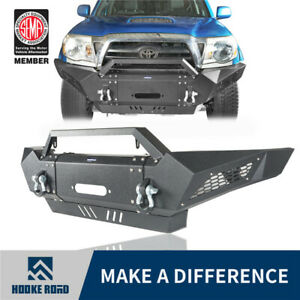 Hooke Road Front Bumper W winch Plate Led Spotlights For Toyota Tacoma 05 15