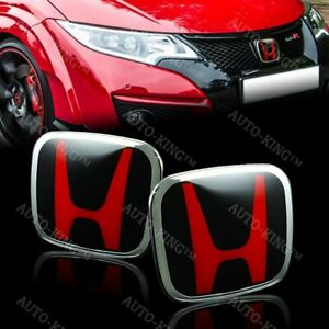Jdm Red Black H New Emblem Front And Rear For 2018 2019 Accord 4dr Sedan Dx Lx