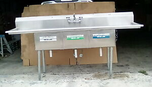 Used Nsf 3 Compartment Stainless Steel Sink