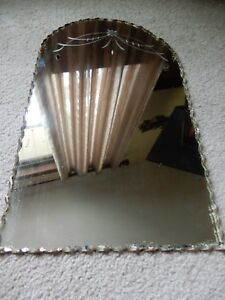 Vintage Antique 1940 S 50 S Wall Bathroom Mirror Arch Top Etched Glass 20 X 12