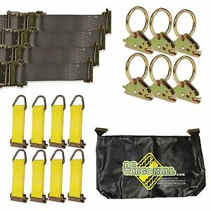 E Track Tiedown Kit Four 2 X16 Ratchet Straps Eight Tieoffs Six O Rings