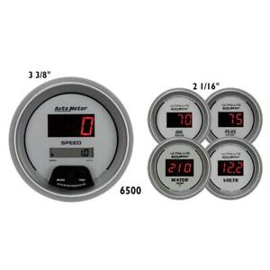 Auto Meter Gauge Set 6500 Ultra Lite Digital Silver 2 1 16 W 3 3 8 Speedo