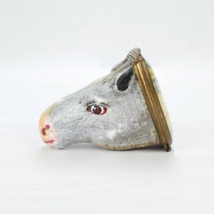Antique 18 C Figural Battersea Bilston Horse Head Snuff Box Or Bonbonniere Vr