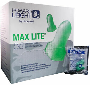 Howard Leight Lpf 1 Max Lite 200 Pair Uncorded Foam Earplugs Hearing Protection