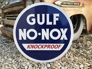 Antique Vintage Old Style Gulf No Nox Gas Oil Sign