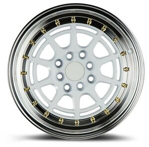 Aodhan Ah04 16x8 4x100 114 3 Et15 White Wheels Fits Carrado Del So Civic
