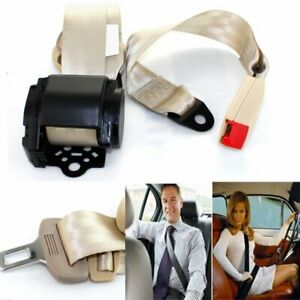 For Chevrolet Car 3 Point Safety Retractable Seat Belt Universal Clip Beige